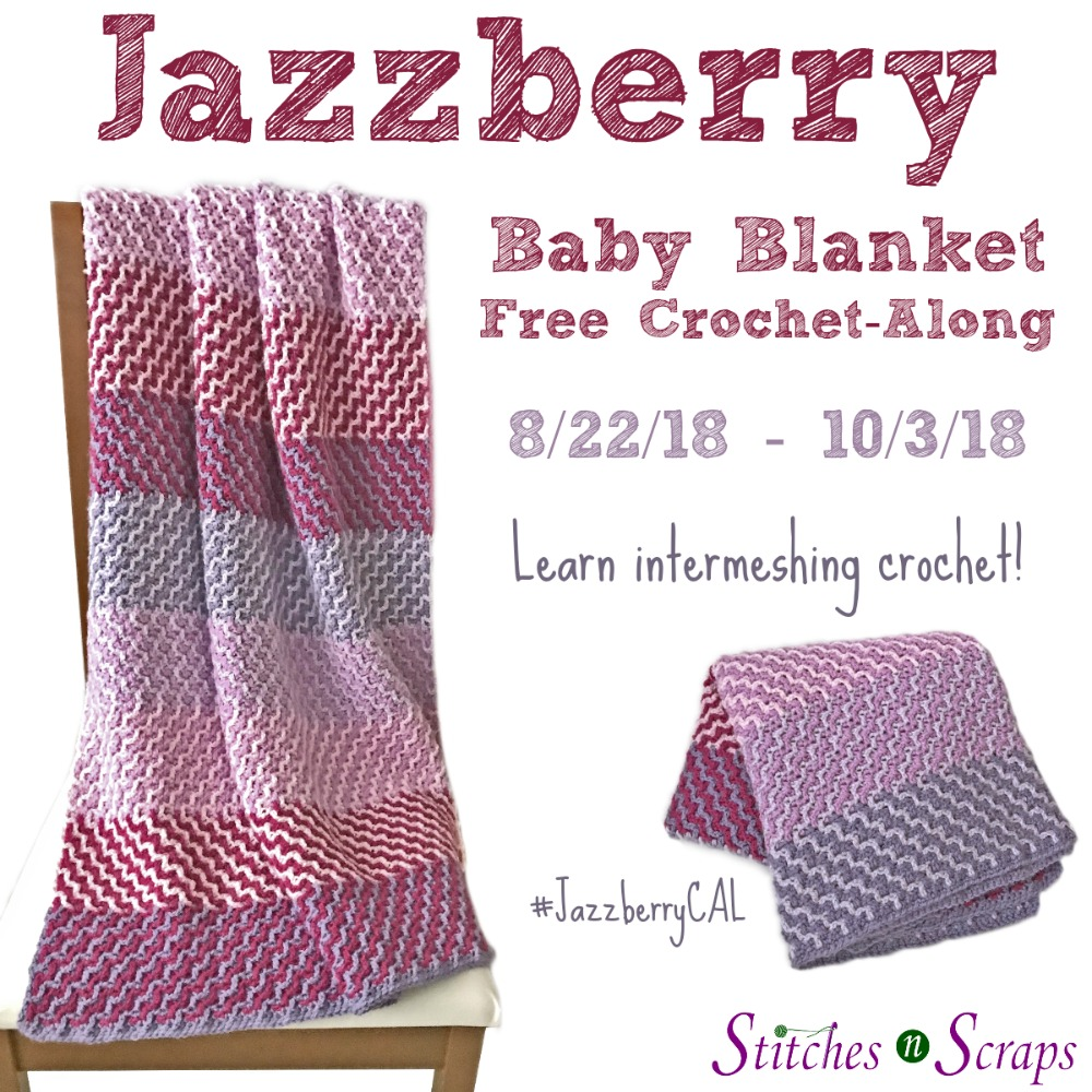 Jazzberry crocheted blanket in multiple shades of purple and pink, shown both draped over a chair and folded.