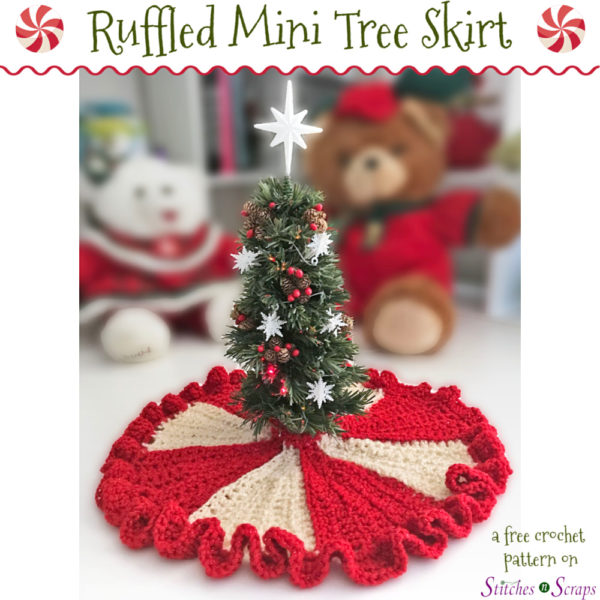 Ruffled Mini Tree Skirt - a free crochet pattern on Stitches n Scraps.com