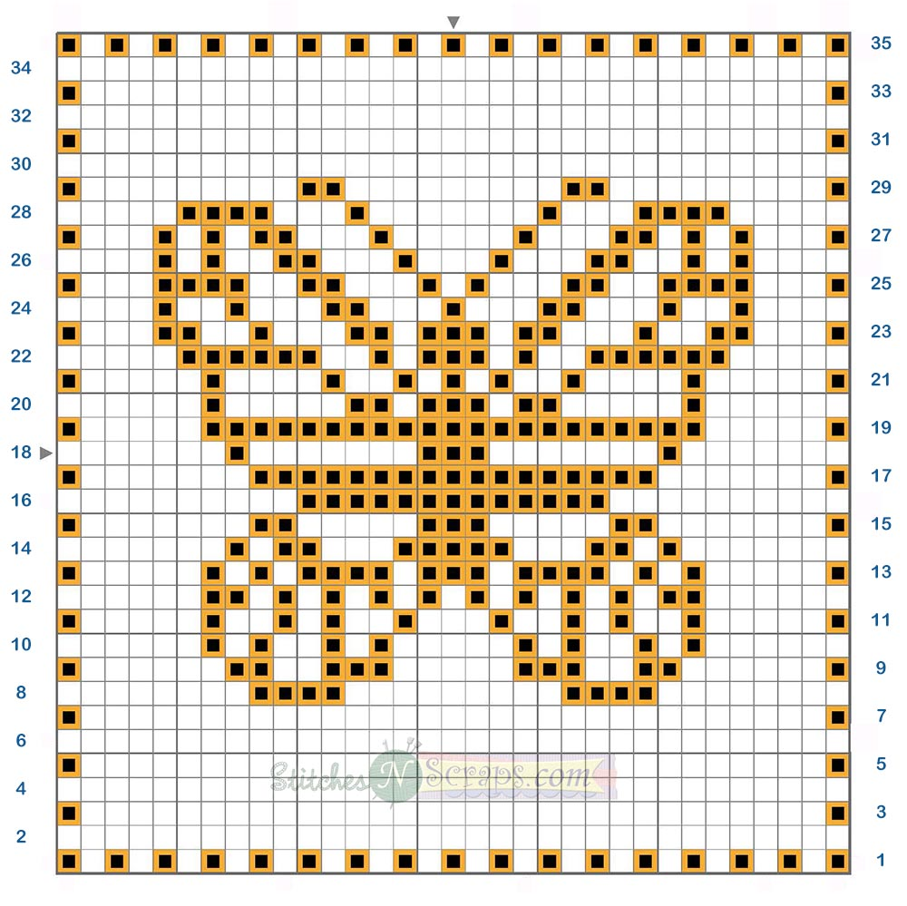 Free Pattern - Filet Crochet Butterfly Motif Chart - Stitches n Scraps