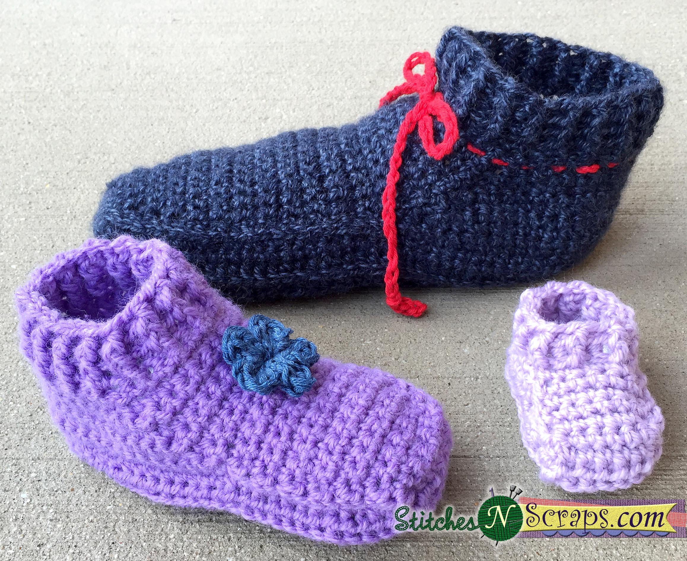 Free Pattern - Non-stop slippers- Adult sizes - Stitches n Scraps