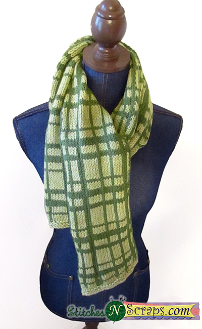 Free Pattern Plaid Scarf Stitches N Scraps