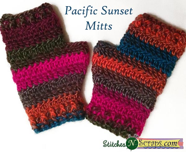 Free Pattern Pacific Sunset Mitts Stitches N Scraps Cool Lion Brand Free Patterns