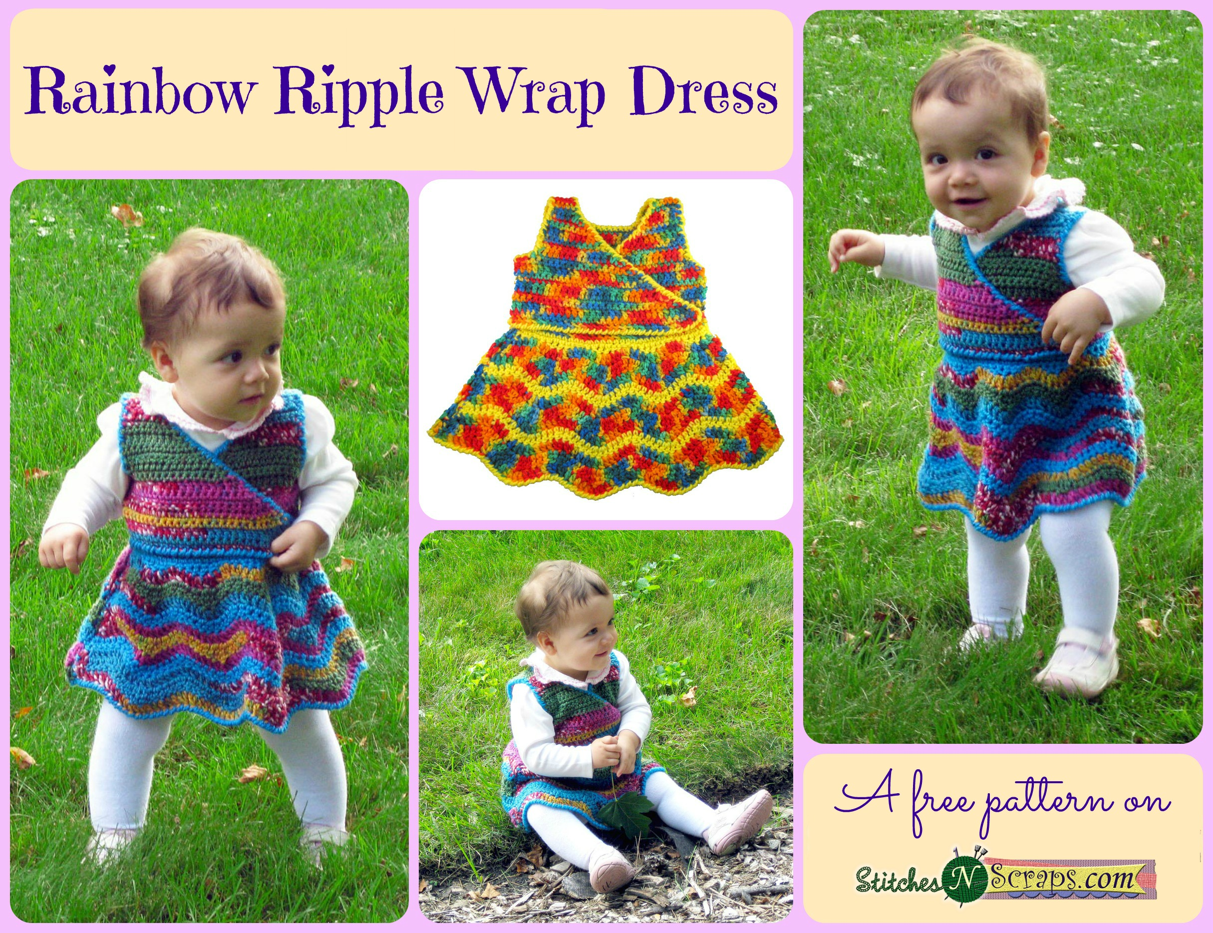 Free Pattern - Rainbow Ripple Wrap Dress - Stitches n Scraps