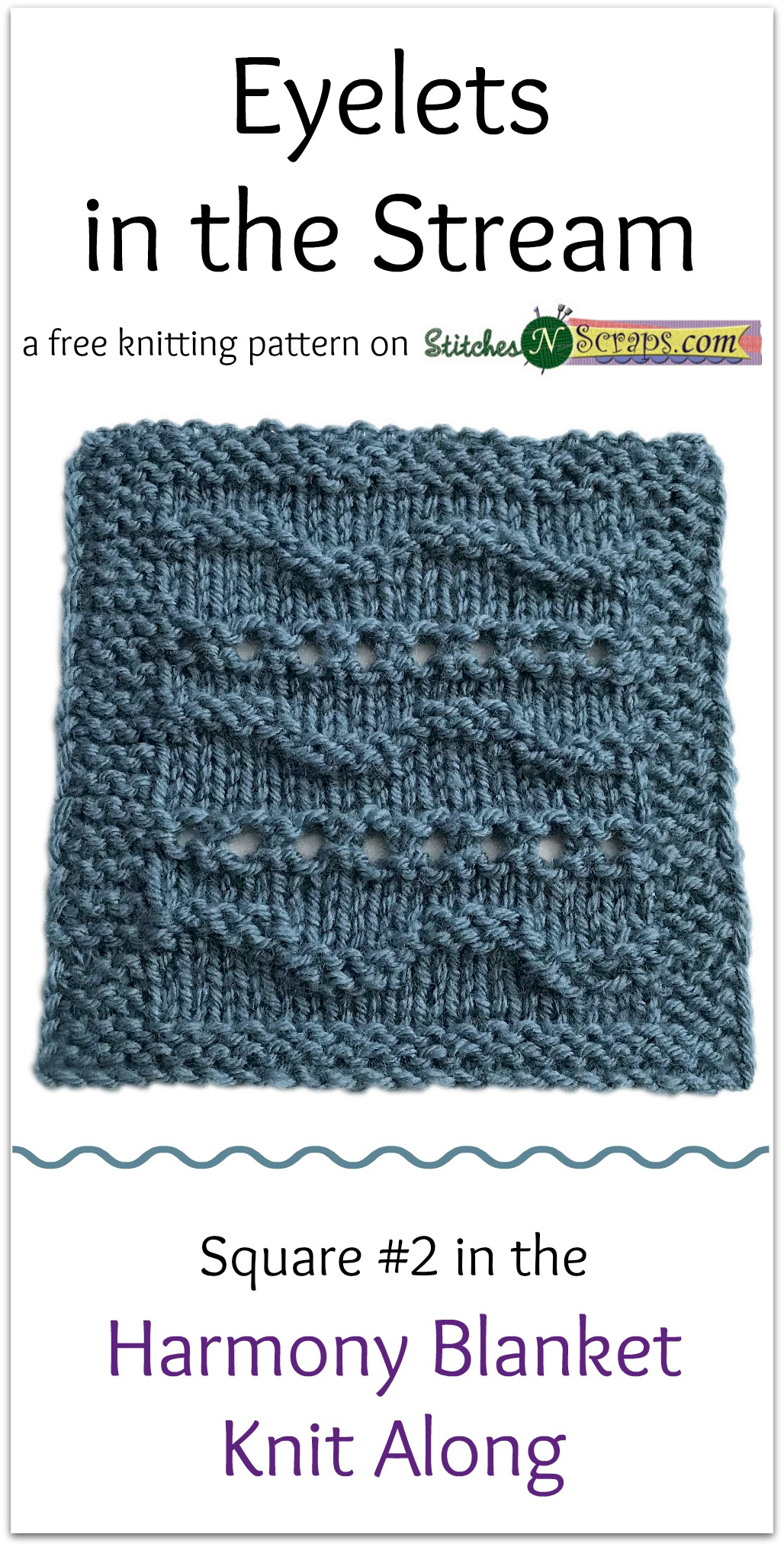 Free Pattern - Eyelets in the Stream - Harmony Blanket Square #2 ...